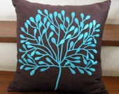 Dark Brown Linen with Turquoise Borneo Tree Embroidery Pillow Cover