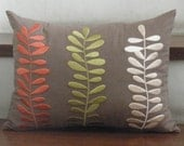 Three Colors of Leaves Throw/Lumbar Pillow Covers - 12x16 inches Linen Decorative Pillow Cover - Brown Linen with Botanical Embroidery