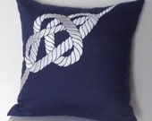 Nautical RopeThrow Pillow Cover - 18x18 inches Linen Pillow Cover - Navy Blue Linen with Gray Silver Nautical Pattern Embroidery