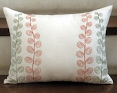 """Swirl Leaves Lumbar Pillow Covers - 12"""" x 16"""" Decorative Pillow Covers - Cream Linen with Leaves - Embroidered Pillow Cover"""