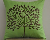 "Borneo Tree -Throw Pillow Cover -18"" x 18"" Decorative Pillow Cover -Green Cotton Fabric with Dark Brown Tree Embroidery"