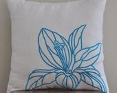 Blue Flower Pillow Cover,  White Linen Pillow Flower Embroidery, Floral Throw Pillow, Home living decor, Couch Pillow