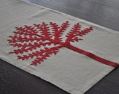 "Red Tree of Life Linen Table Runner - 14"" x 64""  Oatmeal Linen with Red Botanical Embroidery"