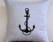 "Anchor Decorative Pillow Covers - Striped Blue Throw Pillow with Navy Blue Anchor Embroidery 18"" x 18"""