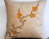 "Cherry BlossomThrow Pillow Cover- 18"" x 18"" Decorative Pillow Cover - Light Brown Linen with Floral  Embroidery"
