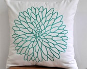 Turquoise Floral Pillow Cover, Accent Pillow, White Linen Turquoise Flower Embroidery,  Decorative Throw Pillow Cover, Cushion, Cocuh Pillow