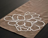 "Hibiscus Table Runner - 14"" x 64"" Medium Brown Linen Table Runner with Hibiscus Flower Embroidery"