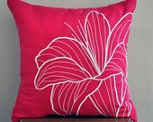 Pillow Cover, Decorative Pillow Cover, Fuchsia Pink Linen Pillow, White Flower, Embroidered, Pillow Accent, Couch Pillow