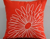 Orange Pillow Cover, Decorative Pillow Cover, Throw Pillow, Red Orange Linen, Beige Flower, Embroidered Pillow, Cushion Cover, Home Decor