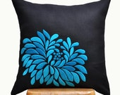 Blue Throw Pillow Cover, Decorative Pillow cover, Accent Pillow, Blue Floral Embroidery, Black Linen Pillow