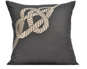 Nautical Pillow Cover, Cream Rope on Gray Pillow, Decorative Throw Pillow Cover, Linen Pillow, 18 x 18 pillow cover square, Sofa Pillow