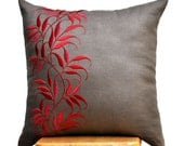 Red Pillow Cover, Decorative Pillow, Couch Pillow, Throw Pillow Cover, Medium Taupe Linen Pillow, Red Leaves Embroidery, Home Decor