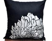 Throw Pillow Cover, Decorative Pillow Cover, Embroidered,  Black Linen Pillow, Silver Gray Flower, Modern Home Decor