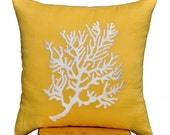 Coral  Pillow Cover, White Coral Yellow Linen Pillow, PIllow Case, Yellow Cushion Cover, Throw Pillow 18 x 18