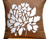 Throw Pillow Cover, Decorative Pillow Cover, Russet Brown Linen Pillow Cover,  Off White Dahlia, Embroidered Pillow