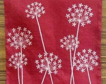 "Table Runner, Linen Table Runner, 14"" x 64"", Red Linen light pink Queen Anne Embroidery,Table Linen, Floral Runner, Home Decor, Wedding gift"