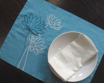 Linen  Placemats, Fabric Placemat, Embroidered, Teal Cotton Linen Lotus Flower Embroidery, Placemat Set of 6, Custom, Table linen, Tabletop