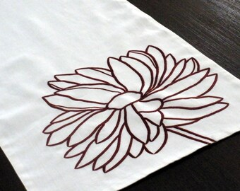 """Flower Linen Table Runner, Deep red peony embroidery on white linen 14"""" x 64"""", Long Table Runner, Wedding Table Linen, Floral Table Top"""