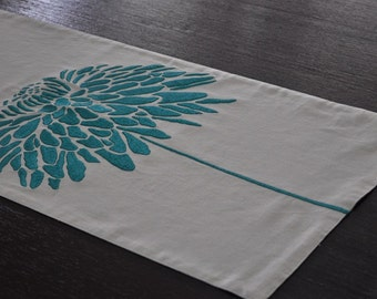 "Linen Table Runner 14"" x 64"", Oatmeal Linen Turquoise Peony Embroidery, Floral Table runner, Modern Table linen, Long Table Runner, Tabletop"