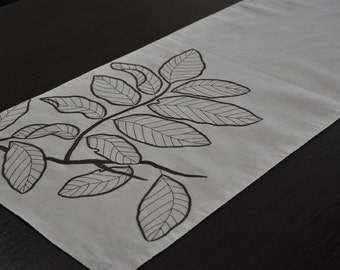"Leaf Table Runner, Linen Table Runner 14"" x 64"", Oatmeal Linen Dark Brown Leaf Embroidery, Long Table Runner, Embroidered Table Linen"