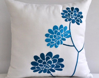 Turquoise White Pillow Cover, Floral Throw Pillow Cover, White Linen Turquoise Flower, Embroidered , Flower Cushion, Modern Home Decor