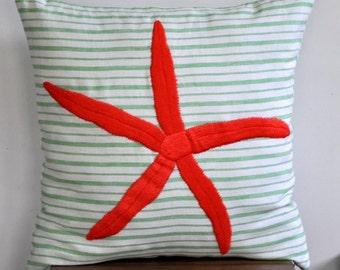 Starfish Pillow Cover,Green White Stripe Linen Orange Starfish, Embroidered, Nautical Decor, Striped Pillow, Sea Life Decor, Cottage Pillow