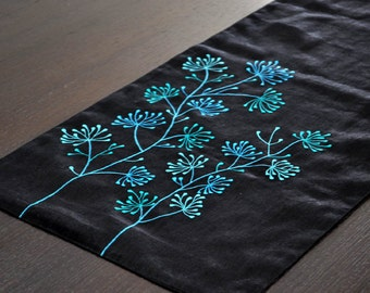 "Floral Table Runner, Linen Table runner 14"" x 64"". Table Linen,Tabletop, Black Linen,Teal Floral Embroidery, Custom Long Table Runner"