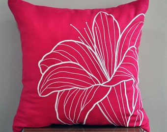Pink Floral Decorative Pillow Cover, Fuchsia Pink Linen White Flower Embroidery, Flower Couch Pillow,Floral Cushion, Pink White Pillow