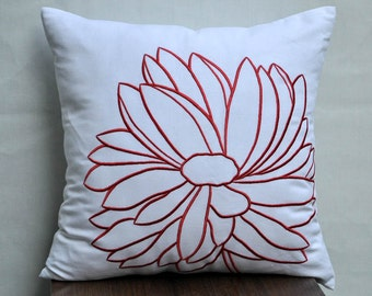 Flower Pillow Cover, Decorative Pillow Cover, White Linen Pillow, Orange Floral Embroidered, Accent Pillow, Throw Pillow Cover, Couch Pillow