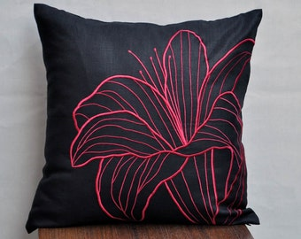 Black Flower Pillow Cover, Black Linen Pillow Red Floral Embroidery, Home decor, Couch Pillow, Accent Pillow, Embroidered Floral Toss Pillow