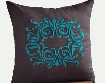 Damask Pillow Cover, Decorative Pillow, Throw Pillow Cover, Dark Brown Linen Teal Damask Embroidery, Couch Pillow, Cushion, Accent pillow