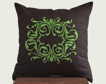 Damask Throw Pillow Cover, Decorative Pillow, Dark Brown Linen Green Damask, Embroidered Cushion, Couch Pillow, Bedding, Accent Pillow