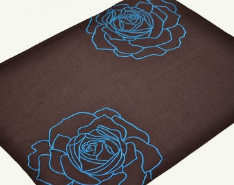Blue Flower Placemat, Linen Placemat Set of 4, Dark Brown Linen Blue Rose Embroidery, Floral Table Linen, Fabric Placemats, Wedding gift