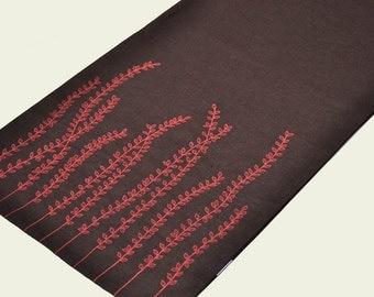 Fern Table Runner, Linen Table Runner, Dark Brown Linen Orange fern, Embroidered Table Linen, Long Table Runner, Wedding Gift, Home Decor