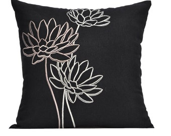 Lotus  Couch Pillow Cover, Embroidered Pillow, Black Linen Flower Embroidery, Floral Cushion, Modern Pillow, Flower Pillow Shams