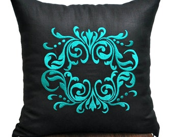 Medallion Pillow Cover, Throw Pillow Cover, Decorative Pillow, Black Linen Pillow Turquoise Medallion, Pillow Case, Embroidered Medallion