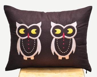 Owls Lumbar Pillow Cover, Brown Linen Pillow Owls Embroidery, Bird Pillow Case, Owl decor, Home decoration, Pillow Shams