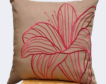 Flower Throw Pillow Cover, Decorative Pillow Cover, Medium Brown Linen Red Flower Embroidery, Red Accent Pillow, Brown Cushion, Couch Pillow