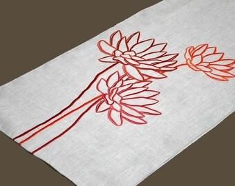 """Lotus Table Runner, Linen Table Runner 14' x 64"""", Natural Linen Orange Lotus, Wedding Table Runner, Flower Table Linen, Modern Tabletop"""
