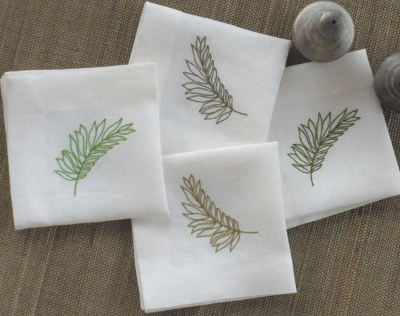 White and greenfern leaves embroidery cocktail napkin set of