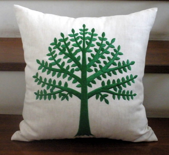 Tree Of Life in Fresh Green and Oatmeal Linen - Embroidery PIllow Cover