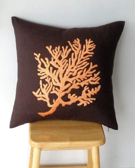 Dark Brown Linen with Orange Coral Embroidery Pillow Cover