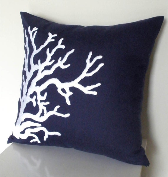 Navy Blue Linen With White Nautical Coral Embroidery Pillow