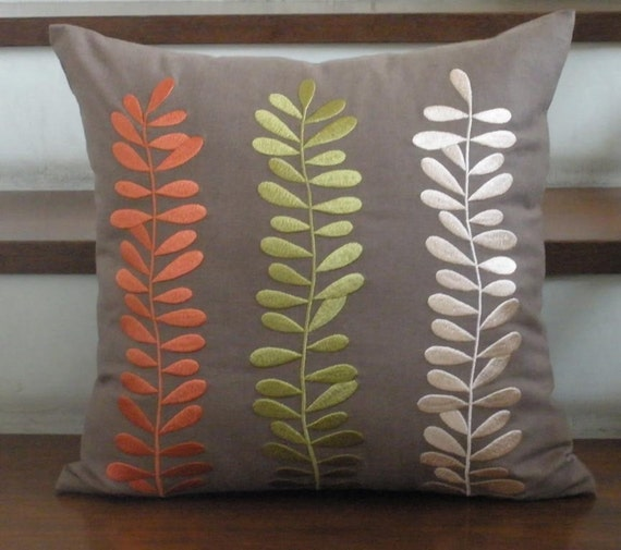 Three Colors Leaves - Embroidery Pillow Cover - 18 Inch square