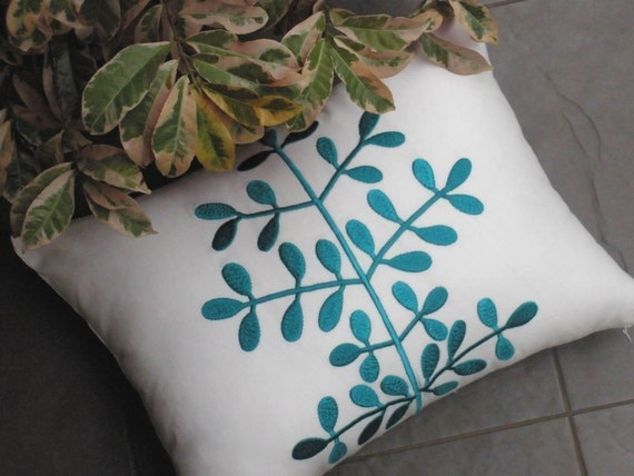 "Custom listing for Linda - Turquoise Leaves Lumbar Pillow Cover - 12"" x 16""  - BEIGE linen with TURQUOISE Botanical Embroidered Pillow case"