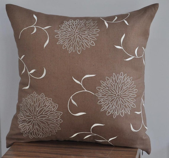 Custom listing - 2 Spring Flowers Throw Pillow Cover -  Embroidered Decorative Pillow - Medium Brown Linen with Cream Mums Flower Embroidery