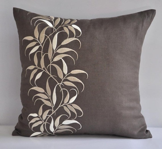 """Custom listing for Angela - 4 Lovely Leaves- 18"""" x 18"""" Decorative Pillow Covers - Medium Taupe Linen Fabric with Beige Leaves Embroidery"""