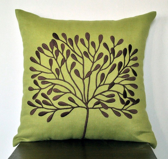 Green Pillow Cover, Decorative Throw Pillow Cover 18 x 18, Dark Brown Tree on Chartreuse Green Linen Pillow, Cushion Cover, Accent Pillow