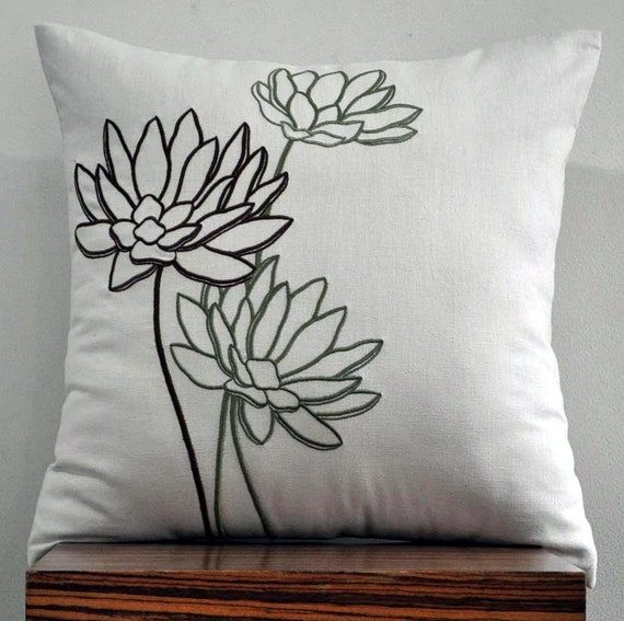 green and brown water lily throw pillow cover 18 x. Black Bedroom Furniture Sets. Home Design Ideas