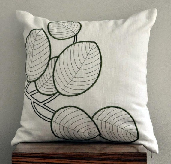 Embroidery Cream Decorative Pillows : Items similar to Throw Pillow Cover, Decorative Pillow, Cream Pillow Cover, Green Leaves ...
